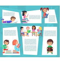 reading children sitting and lying with books vector image