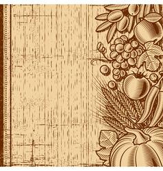 Retro harvest background brown vector image vector image