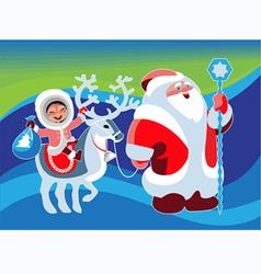 Santa Klaus girl beer vector image