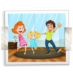 A happy family photo vector image vector image