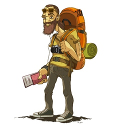 Bearded traveler with a large backpack vector image vector image