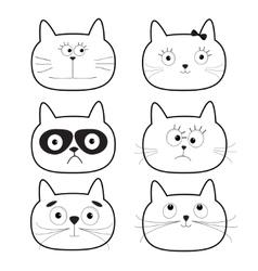 Cute black contour cat head set Funny cartoon vector image