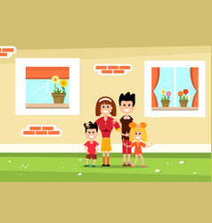family with family house wall and windows flat vector image vector image