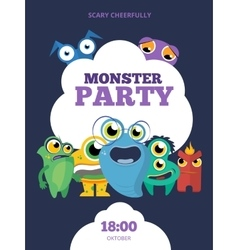 Monster party invitation card poster vector