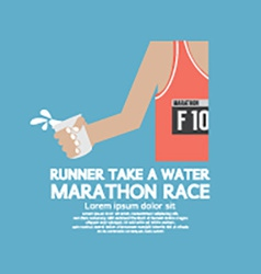 Runner Take a Water In a Marathon Race vector image vector image