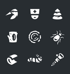 set of woodpecker icons vector image