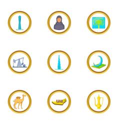 uae travel icons set cartoon style vector image