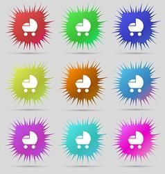 Baby pram icon sign a set of nine original needle vector