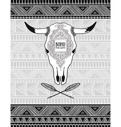 card with crossed ethnic arrows and bull skull on vector image vector image