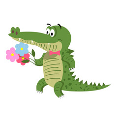 cartoon crocodile with flowers isolated on white vector image