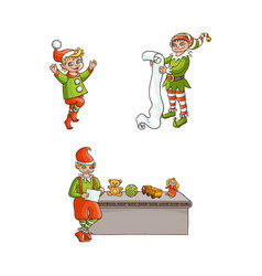 flat elves boy girl christmas scenes set vector image