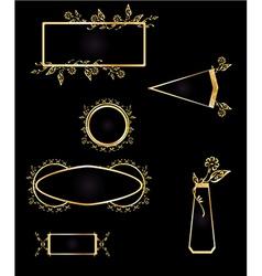 Gold and black frame element set vector image