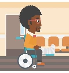 Man with broken leg sitting in wheelchair vector image vector image