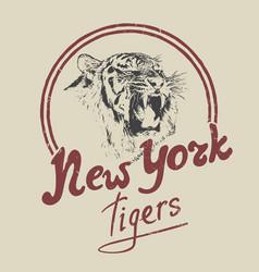new york tiger retro label vector image
