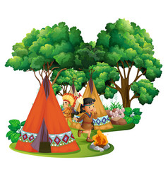 american indians at campsite vector image