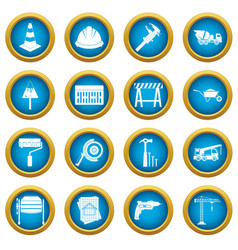 architecture icons blue circle set vector image