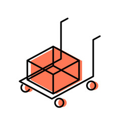 cart line icon for shipping vector image vector image