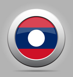flag of laos shiny metal gray round button vector image vector image