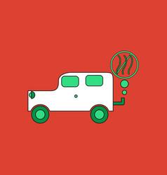 Flat icon design collection car and smoke vector