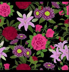 floral watercolor flower bouquet card vector image