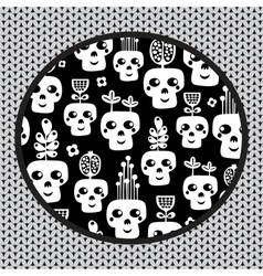 Funny skull pattern with flowers vector image vector image