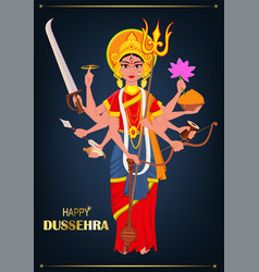 happy dussehra maa durga on dark blue background vector image vector image