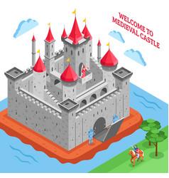 Middle ages european royal castle composition vector