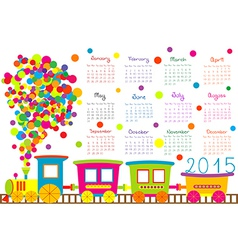 2015 calendar for kids with cartoon train vector