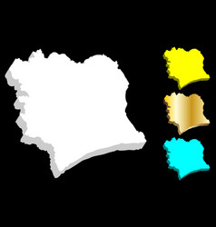 3d map of ivory coast vector
