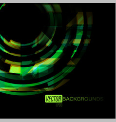 abstract green colors circles on a black vector image