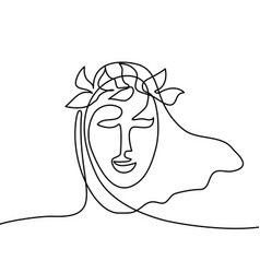 Abstract portrait of a woman with head wreath vector