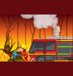 Accident scene with forest fire vector