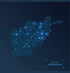 Afghanistan map with cities luminous dots - neon vector