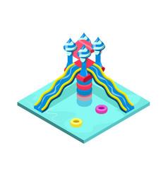 Aquapark plastic water slide isometric 3d element vector
