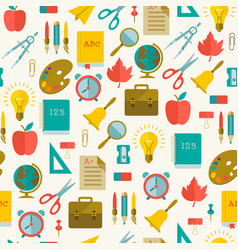 back to school flat seamless pattern vector image