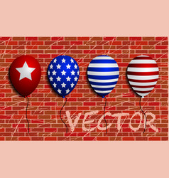 Balloons set sign brick wall as vector