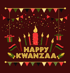 Banner for kwanzaa with traditional colored and vector