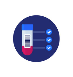 blood test results and sample icon vector image
