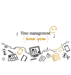 Business scheduling time management concept sketch vector