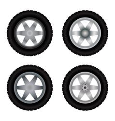 Car wheels different colors vector