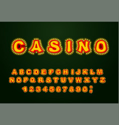 casino font glowing lamp letters retro alphabet vector image vector image