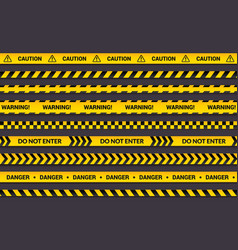 caution tape set yellow warning strips danger vector image