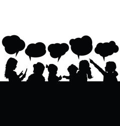 Children with speech bubble silhouette vector