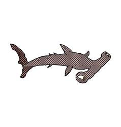 Comic cartoon hammerhead shark vector