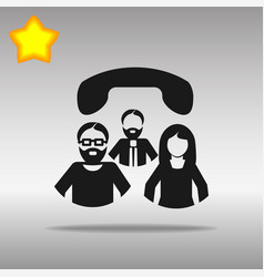 conference call black icon button logo vector image