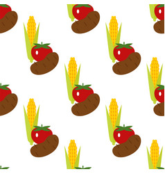 corn potato and tomato seamless pattern vector image