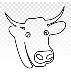 Cow head with horns line art icon for apps vector