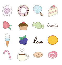 cute hand draw doodle icons food bakery cake vector image