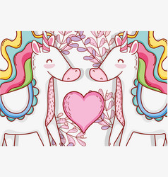 Cute unicorn couple with heart and plants vector