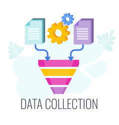 data collection icon information falls into the vector image